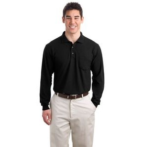 Port Authority® Silk Touch™ Long Sleeve Polo Shirt w/Pocket