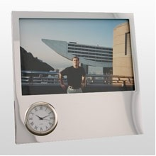 Silver Time Zone Picture Frame Clock