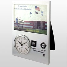 US Made Silver Aluminum Picture Frame Clock