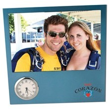 Corporate Blue Time Zone Picture Frame Clock
