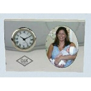 Polished Silver Cameo Style Picture Frame Clock