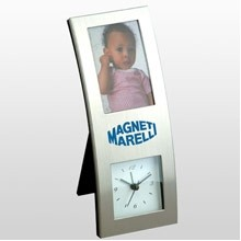 Brushed Silver Vertical Picture Frame Alarm Clock