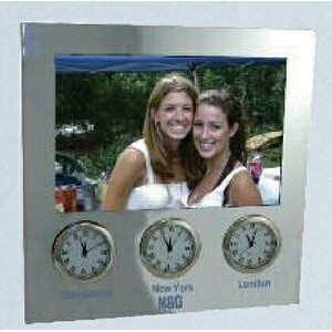 "Three Time Zone Picture Frame Clock (Holds 4""x6"")"