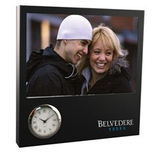 Black Time Zone Picture Frame Clock