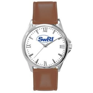 Pedre Men's Clarity Silver-Tone Watch with Brown Strap