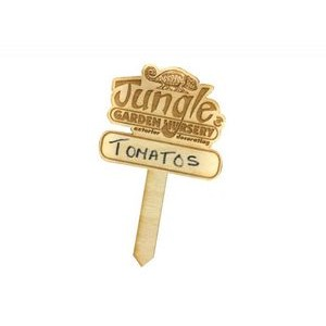 "Custom Wood Laser Engraved Garden Stake Up To 5"" Tall"