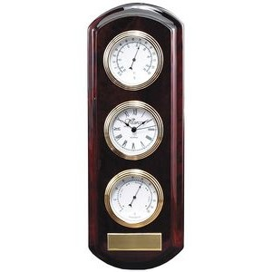 "Wall Clock and Weather Station, Rosewood Piano Finish, 4-1/2""x13"""