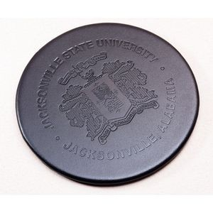Classic Black Leather Round Coaster w/Holder (10 Set)