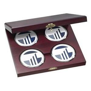 4 Round Solid Chrome Coasters w/Cherry Wood Presentation Case