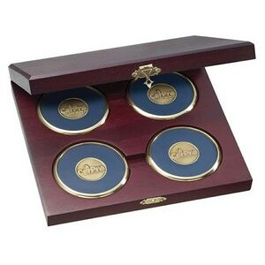 4 Round Solid Brass Coasters w/Cherry Wood Presentation Case